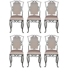 Style Jean-Charles Moreux, Set of Six Chairs, Iron, circa 1960, France