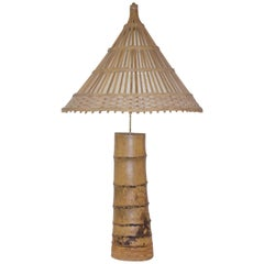 Important Bamboo Table Lamp, circa 1970, France