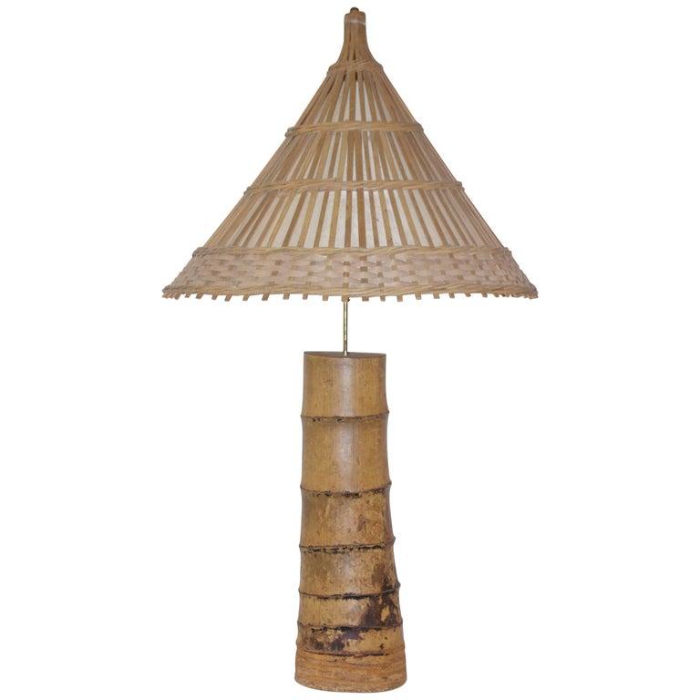 Important Bamboo Table Lamp, circa 1970, France