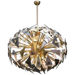 Murano Chandelier with Multicolored Glass Triangles, Brass Structure, 1970s
