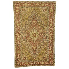 Modern Rustic Style Vintage Turkish Oushak Accent Rug, Entry or Foyer Rug
