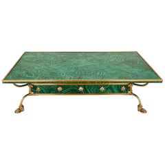 Italian Brass and Faux Malachite Coffee Table