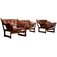 1950s, Teak and Leather Set 'Trega' Chairs by Tormod Alnaes for Sørliemøbler