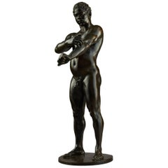 19th Century German Nude Male Athlete Bronze Sculpture