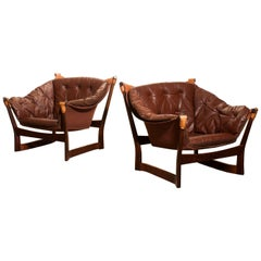 1950s, Teak and Leather Pair 'Trega' Chairs by Tormod Alnaes for Sørliemøbler