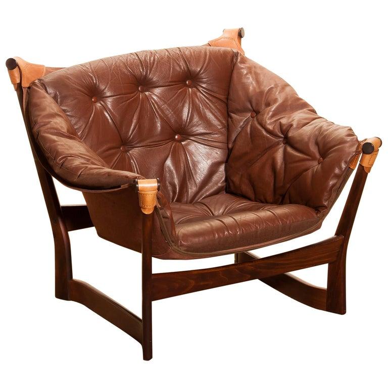 1950s, Teak and Leather 'Trega' Lounge Chair by Tormod Alnaes for Sørliemøbler