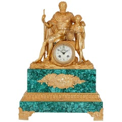 Louis XVI Style Gilt Bronze and Malachite Mantel Clock