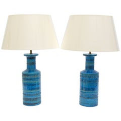 Pair of Italian 1960s Ceramic Bitossi Rimini Table Lamps