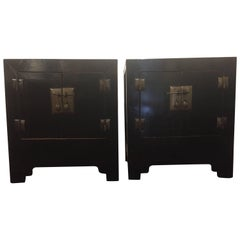 Stunning Pair of Asian Style Ebonized Nightstands or End Tables