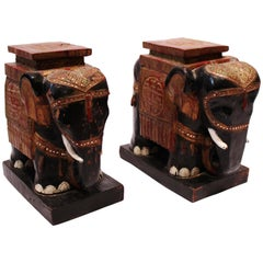 Pair of Chinese Elephants in Original Painted Wood, 1910s