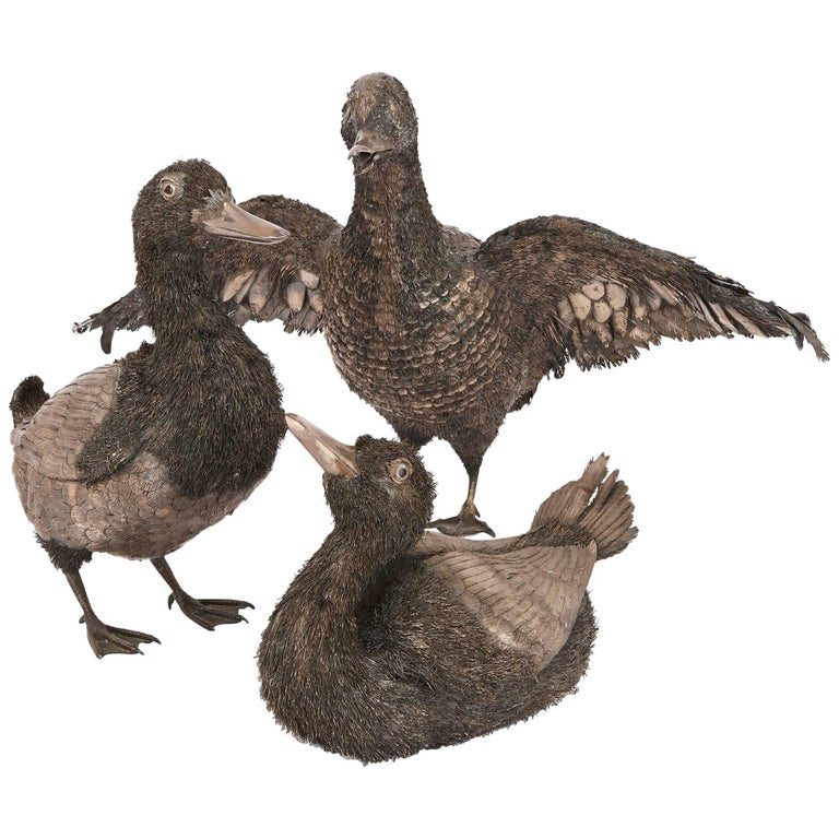 Set of Three Silver Duck Figurines, in the Style of Buccellati