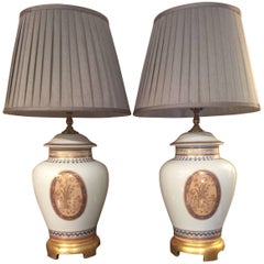 Beautiful Pair of Classic Mottahedeh Porcelain Lamps