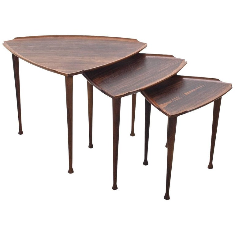 Elegant Midcentury Scandinavian Modern Nesting Tables, Denmark, 1960s For Sale