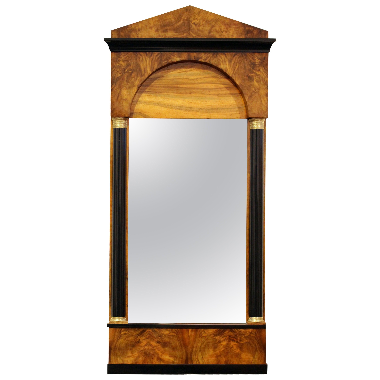 19th Century, Biedermeier Walnut Pillar Mirror