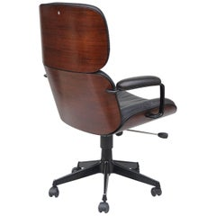 Swivel Office Chair with Walnut Veneer Shell by Ico Parisi for MIM, 1950s, Italy