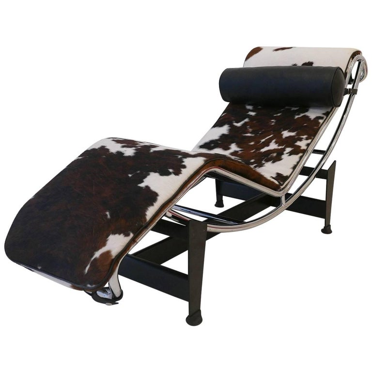 Charles Le Corbusier Inspired LC4 Black and White Pony Recliner at on le corbusier lc2, le corbusier lc4 chair, le corbusier lc3, le corbusier chaise lounge chair,