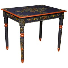 Dutch Table in Painted Wood with Floral Decorations from 20th Century