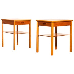 1950s, a Pair Teak Bedside Tables by Säffle, Sweden
