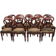 Set of 14 Victorian Style Balloon Back Dining Chairs with Carved Shield