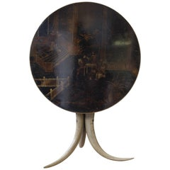 Napoleon III Tripod Table, Chinese Lacquered Decor Tilting Tray and Horn Feet