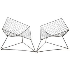 Diamond Shaped Metal Wired Chair Designed by Niels Gammelgaard in the 1980s