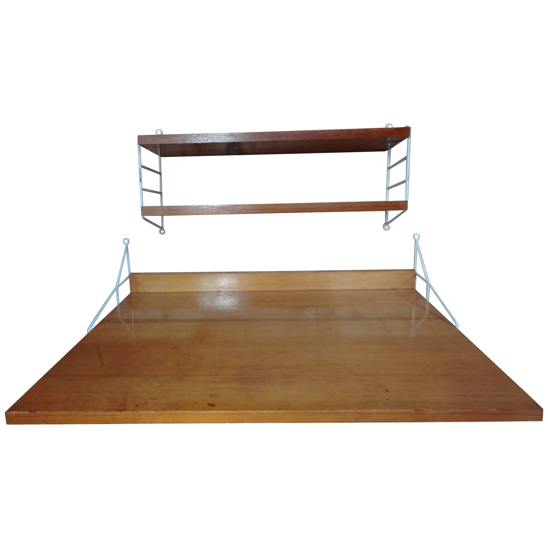 Large Retro Vintage Desk Plus Shelving Unit by Nisse Strinning for String, 1960s