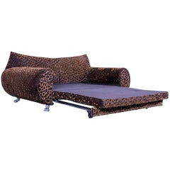 Bretz Gaudi Designer Bed Sofa Velours Fabric Brown Three-Seat Chaise Longue