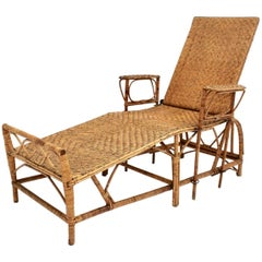 Rattan Art Deco Vintage Chaise Longue by Perret & Vibert Attributed France 1920s