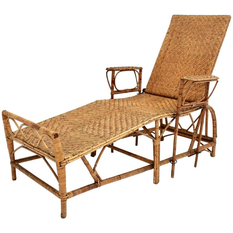 Rattan Chaise Longue by Perret & Vibert Attributed, France, 1920s