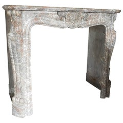 19th Century Marble Louis XV Fireplace in Belgian Marble