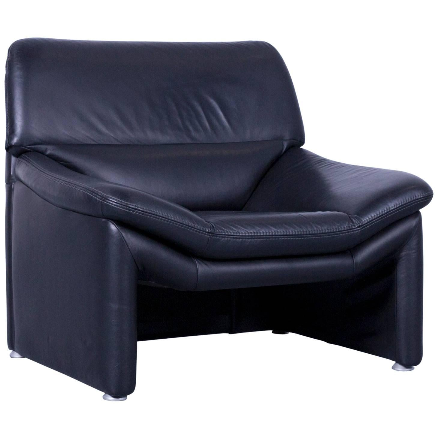 Weko Designer Armchair Leather Black One Seat Couch Modern For Sale