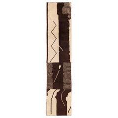 Brown and Ivory Vintage Moroccan Runner Rug