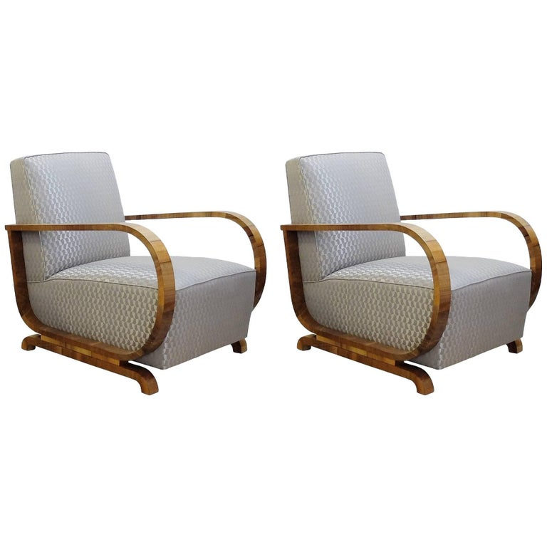 Pair of Art Deco Armchairs with New Pierre Frey Upholstery