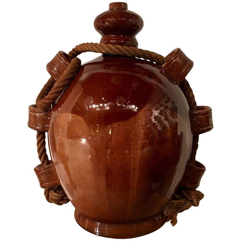 Atelier Madoura Suzanne Ramié, Important Ceramic Gus or Vase, Brown, circa 1945