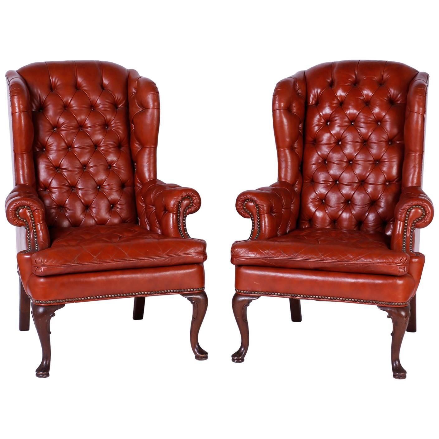 Pair Of Antique Leather Wing Back Club Chairs
