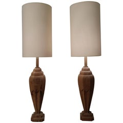 Pair of Carved Wooden Lamps with Lampshade, circa 1930-1940