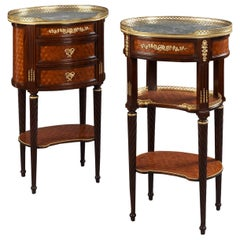 Pair of Louis XVI Style Cube Parquetry Gueridons or Bedside Tables, circa 1880
