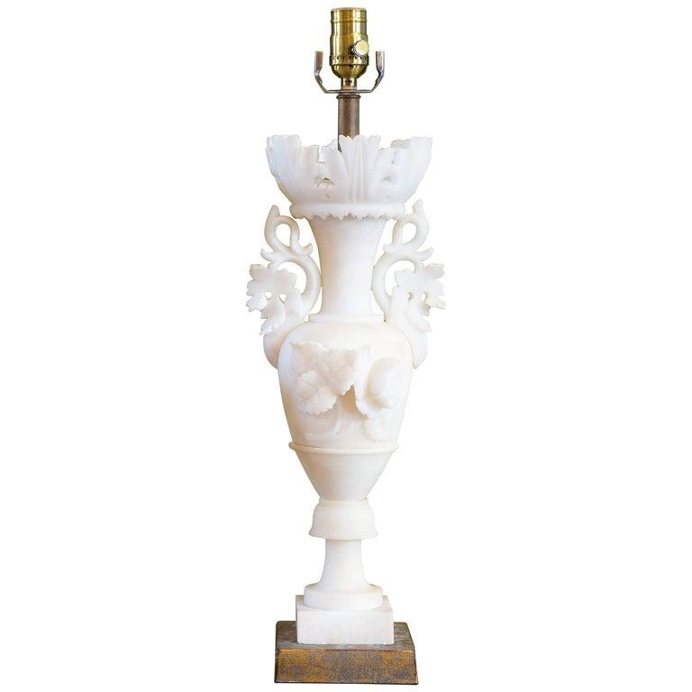 Italian Carved Alabaster Table Lamp, circa 1920