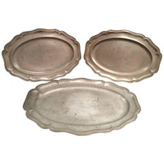 Set of Three English Pewter Serving Platters or Dishes, 19th Century