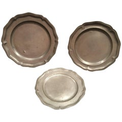 Set of Three English Pewter Plates or Platters, 19th Century