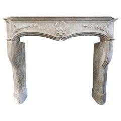 18th Century Limestone Louis 15 Fireplace