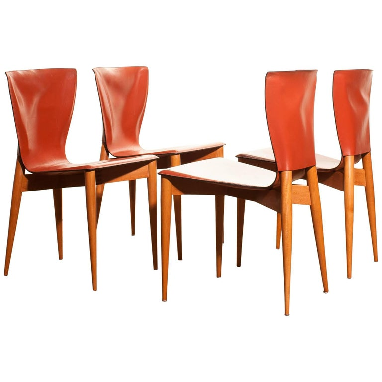 1970s, Set of Four Carlo Bartoli for Matteo Grassi 'Vela' Dining Side Chairs