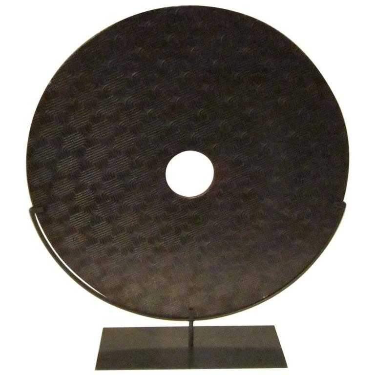 Extra Large Textured Stone Disc Sculpture, China