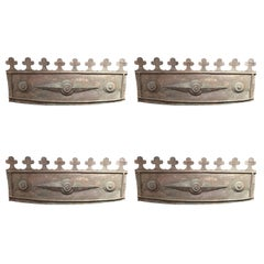 Set of Four English Metal Flower Box Fronts, 19th Century