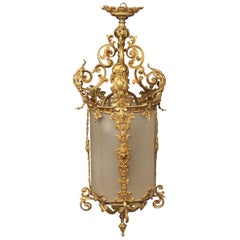 Early 20th Century Gilt Bronze and Glass Lantern