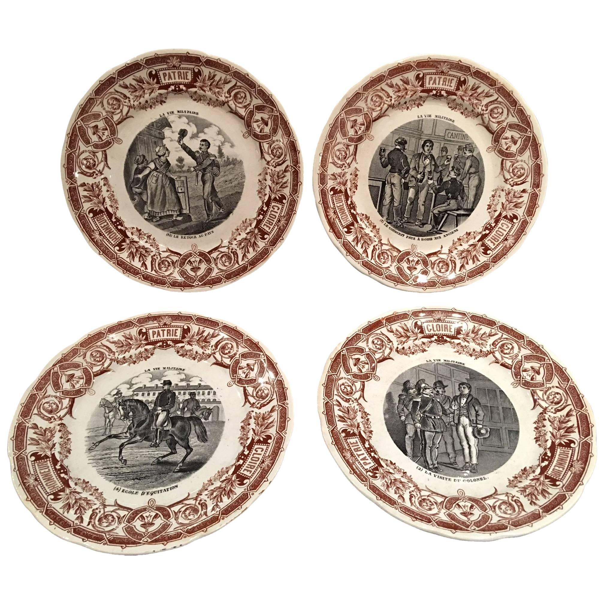 "French Set of Twelve Dessert Plates ""Digoin & Sarreguemines"", 19th Century"