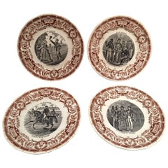 "French Set of Twelve Dessert Plates ""Digoin & Sarreguemines"", 19th Century"