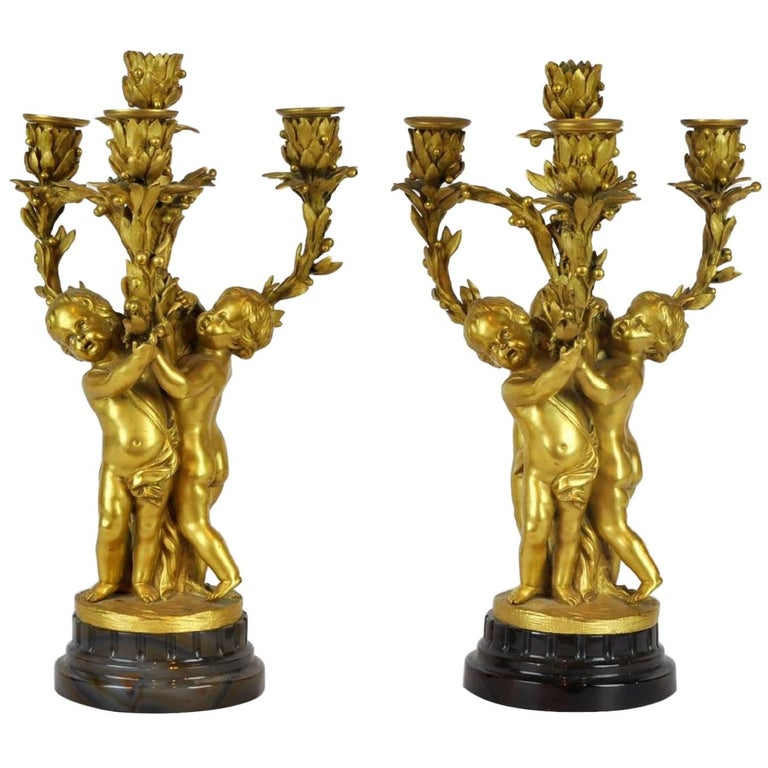 Pair of 19th Century French Doré Bronze Putti Candelabras with Agate Bases