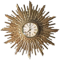 Syroco Sunburst Wall Clock, 1963