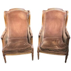 Pair of French Louis XVI Fruitwood Bergeres